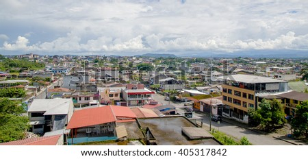 Puyo, Ecuador- March 22, 2016: Great overview showing the city of Tena from above, located in Ecuadorian amazon region.