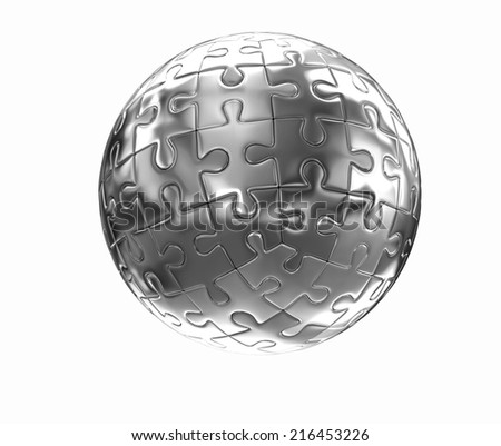 Puzzle abstract sphere on a white background
