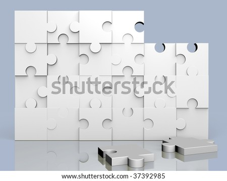 Puzzle almost solved over a blue background - stock photo