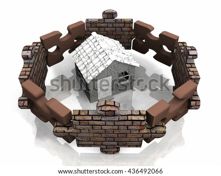 puzzle and house 3D illustration