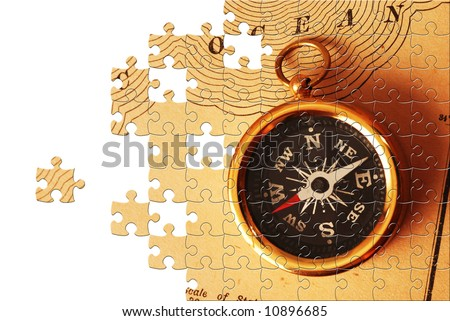 Puzzle Antique Brass Compass Over Old Stock Photo - Old us map background
