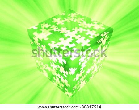 puzzle box green - stock photo