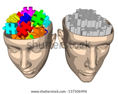 Puzzle brain of woman and man - cartoon - stock photo