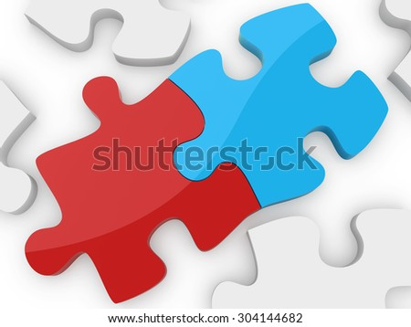 Puzzle connection , This is a computer generated and 3d rendered image.