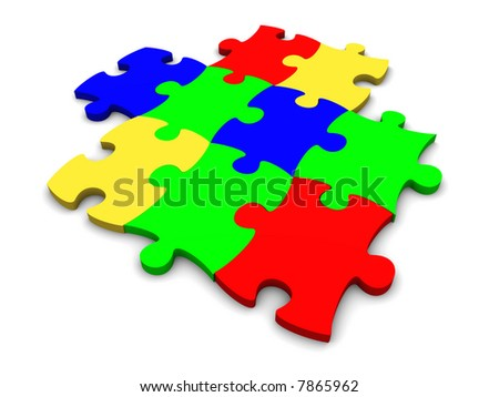 Puzzle consisting from multi-coloured plastic pieces on a white background