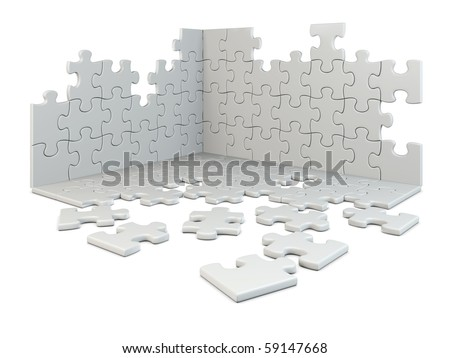 puzzle construction isolated on white