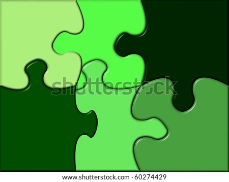 puzzle containing various tints of green - stock photo