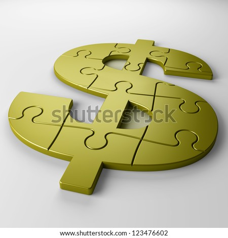 puzzle dollar - stock photo