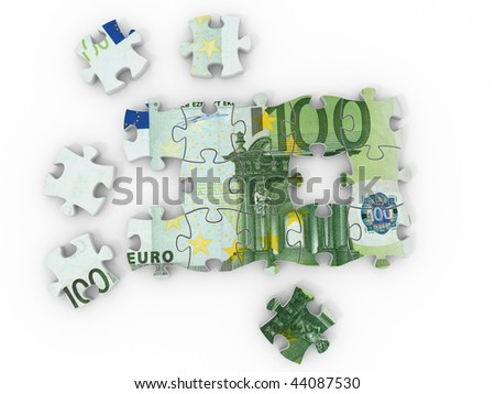 Puzzle euro. 3d - stock photo