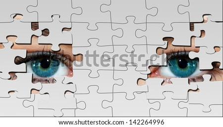 Puzzle eyes  - stock photo