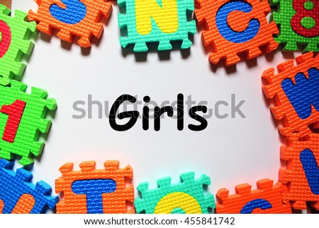 Puzzle foam with white background and Word Girls in center