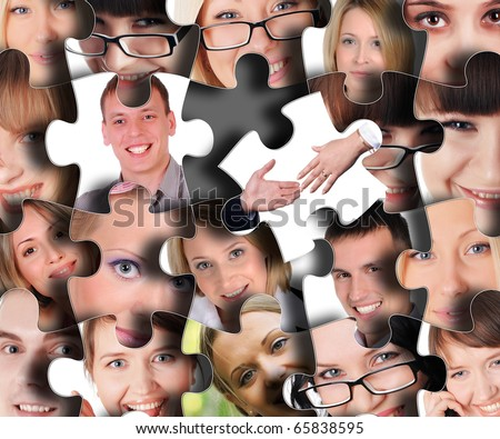 Puzzle from different human faces in close-up - stock photo