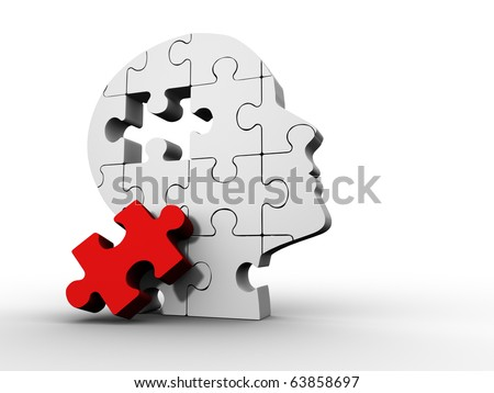 Puzzle head - this is a 3d render illustration - stock photo