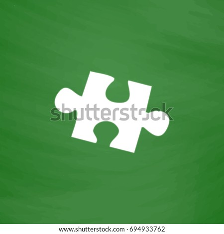 Puzzle Icon Illustration. Flat symbol. Imitation draw with white chalk on green chalkboard. Pictogram and School board background
