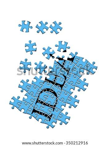 """puzzle isolated on white background """"idea"""" - stock photo"""