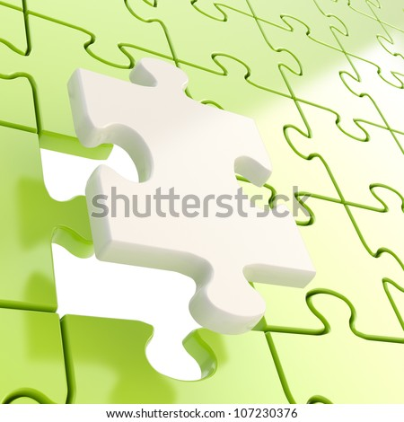 Puzzle jigsaw green background with one white piece stand out - stock photo