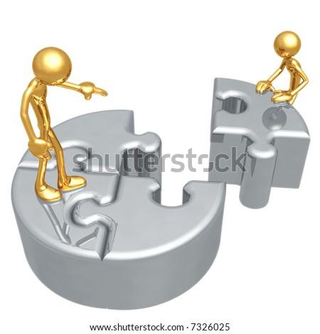 Puzzle Leadership - stock photo