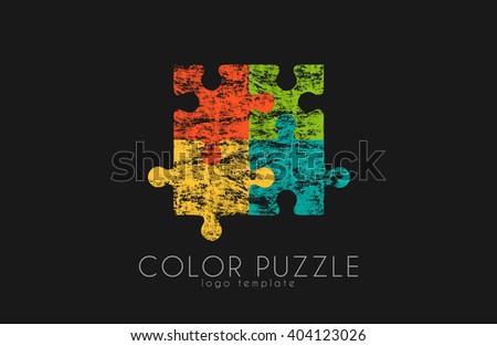 Puzzle logo. Color puzzle design. Creative logo - stock photo