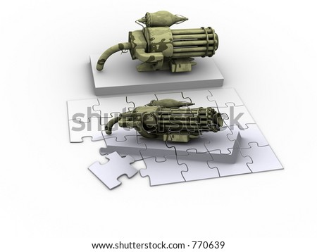 Puzzle of a fantasy weapon. - stock photo