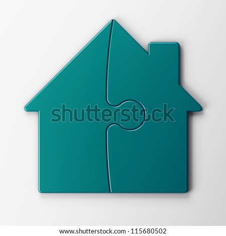 puzzle of a house with clipping path