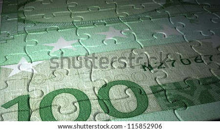 Puzzle of Euro close-up (computer generated image) - stock photo
