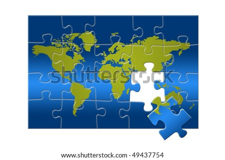 Puzzle of the world map - stock photo