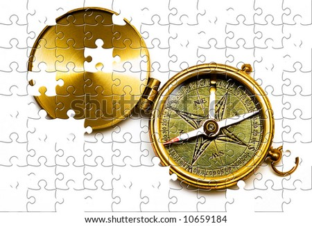 Puzzle Old style brass compass