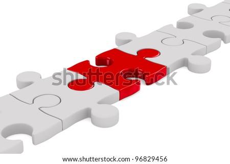 Puzzle on white background. Isolated 3D image - stock photo