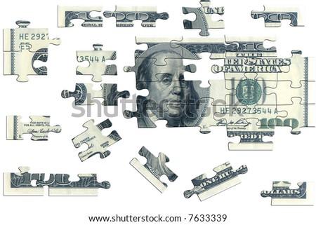 Puzzle, one hundred dollar - stock photo