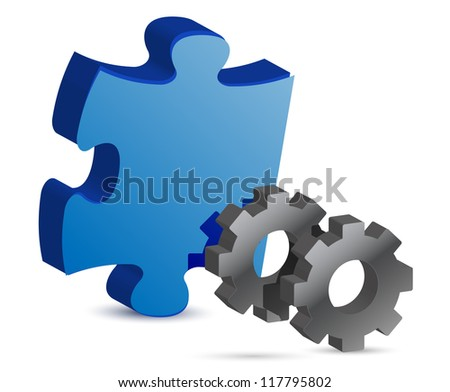 puzzle piece and gear illustration design over white - stock photo