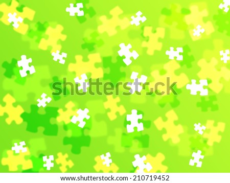 puzzle piece bokeh effect on a lime green background - stock photo