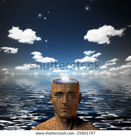 Puzzle piece in mans open mind - stock photo