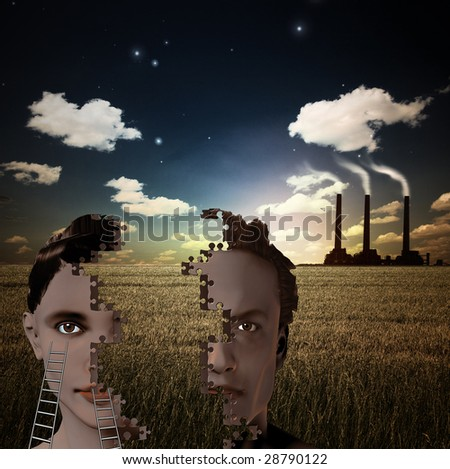 Puzzle Piece Man and Woman and Smoking Factory - stock photo