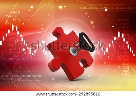 Puzzle piece with key - stock photo
