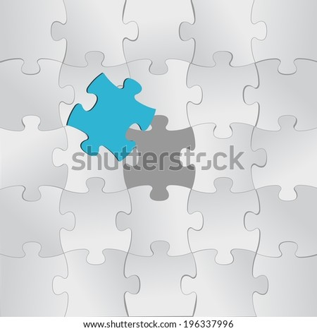 puzzle pieces and one unique in color. illustration design