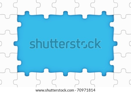 Puzzle pieces frame - stock photo