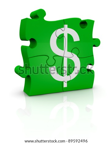 puzzle pieces that form the symbol of dollar currency (3d render) - stock photo
