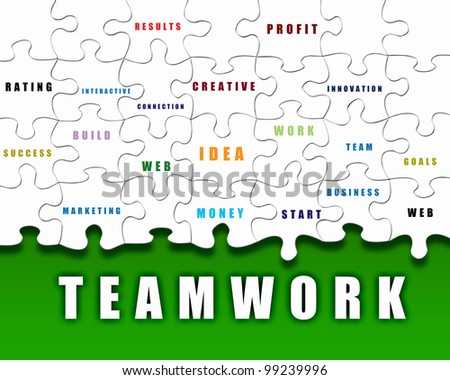 Puzzle pieces with business terms written on them - stock photo