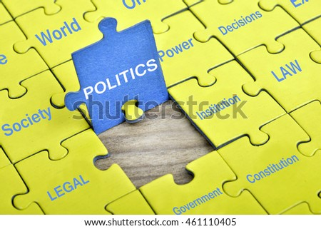 Puzzle pieces with word Politics