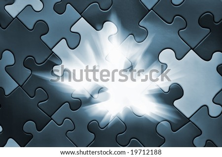 Puzzle plane - one piece missing, concept of business solution and solving problems, also background image for new idea - stock photo
