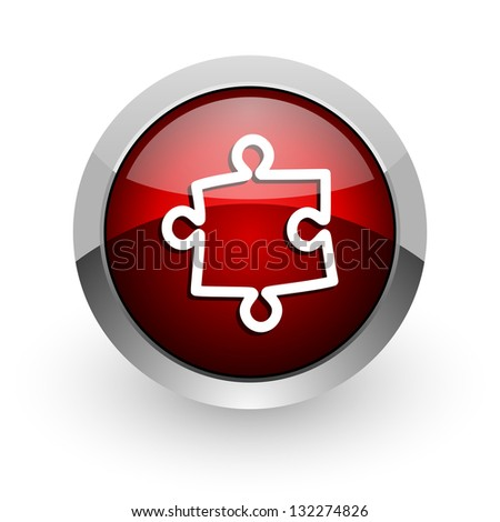 puzzle red circle web glossy icon - stock photo
