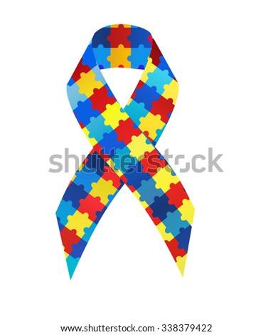 Puzzle ribbon autism awareness - stock photo