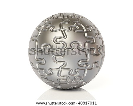 puzzle sphere on white background - stock photo