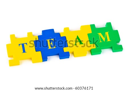 Puzzle Team isolated on white background - stock photo