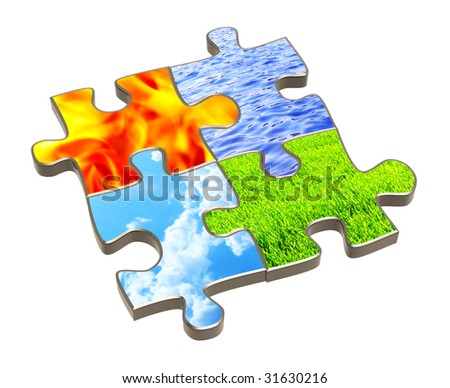 Puzzle with four elements of nature. Object over white - stock photo