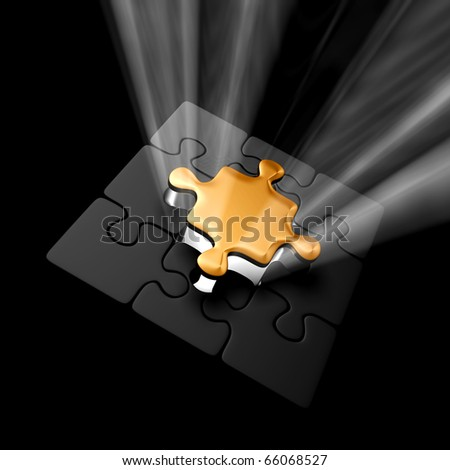 Puzzle with Gold Piece - stock photo