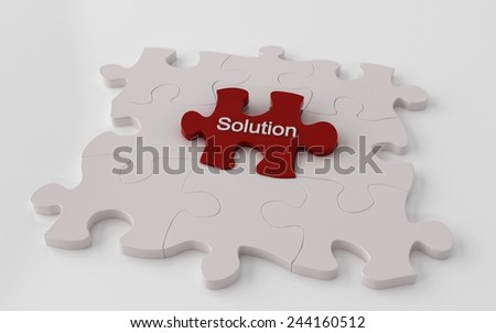 Puzzle with one red piece - problem solving 3d concept - stock photo