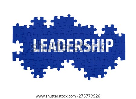 Puzzle with the LEADERSHIP word  isolated on white  - stock photo