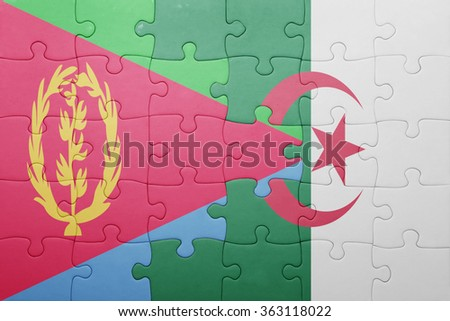 puzzle with the national flag of algeria and eritrea . concept - stock photo