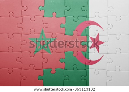 puzzle with the national flag of algeria and morocco . concept - stock photo